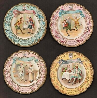 """LIEBIG T-18 """"PROVERBS-ROCOCO COSTUMES"""" LOT 4 VINTAGE TABLE (PLACE) CARDS 1900 FR"""
