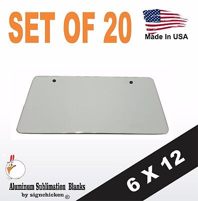 20 Pieces Aluminum License Plate Sublimation Blanks 6x 12 2 Mounting Holes