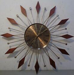 VTG Mid Century Modern Atomic Elgin Starburst Sunburst Wall Clock 21.5 1960's