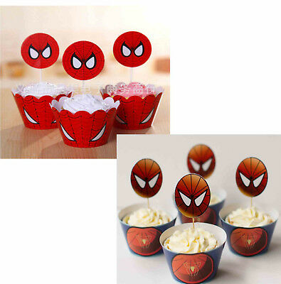 Spiderman Cupcake Wrappers (PACK OF 12 SPIDERMAN CUPCAKE WRAPPERS TOPPERS BIRTHDAY PARTY SUPPLIES)