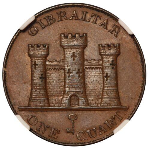 1842/0 Gibraltar Quart Copper Coin - NGC AU 58 BN - KM# 2