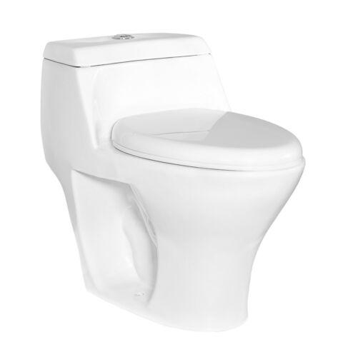 DeVille3246D Dual Flush One Piece Toilet w/ Soft Close Seat, Elongated, White