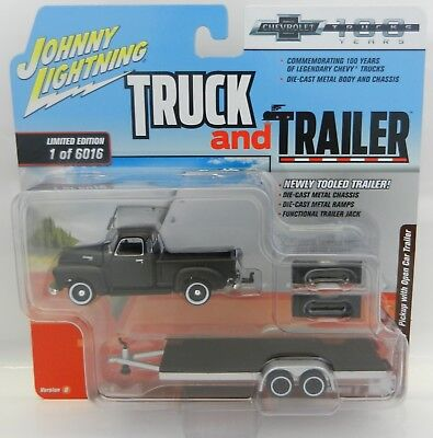 2018 Johnny Lightning  Truck   Trailer 2B  1950 Chevy Pickup W Flatbed Trailer