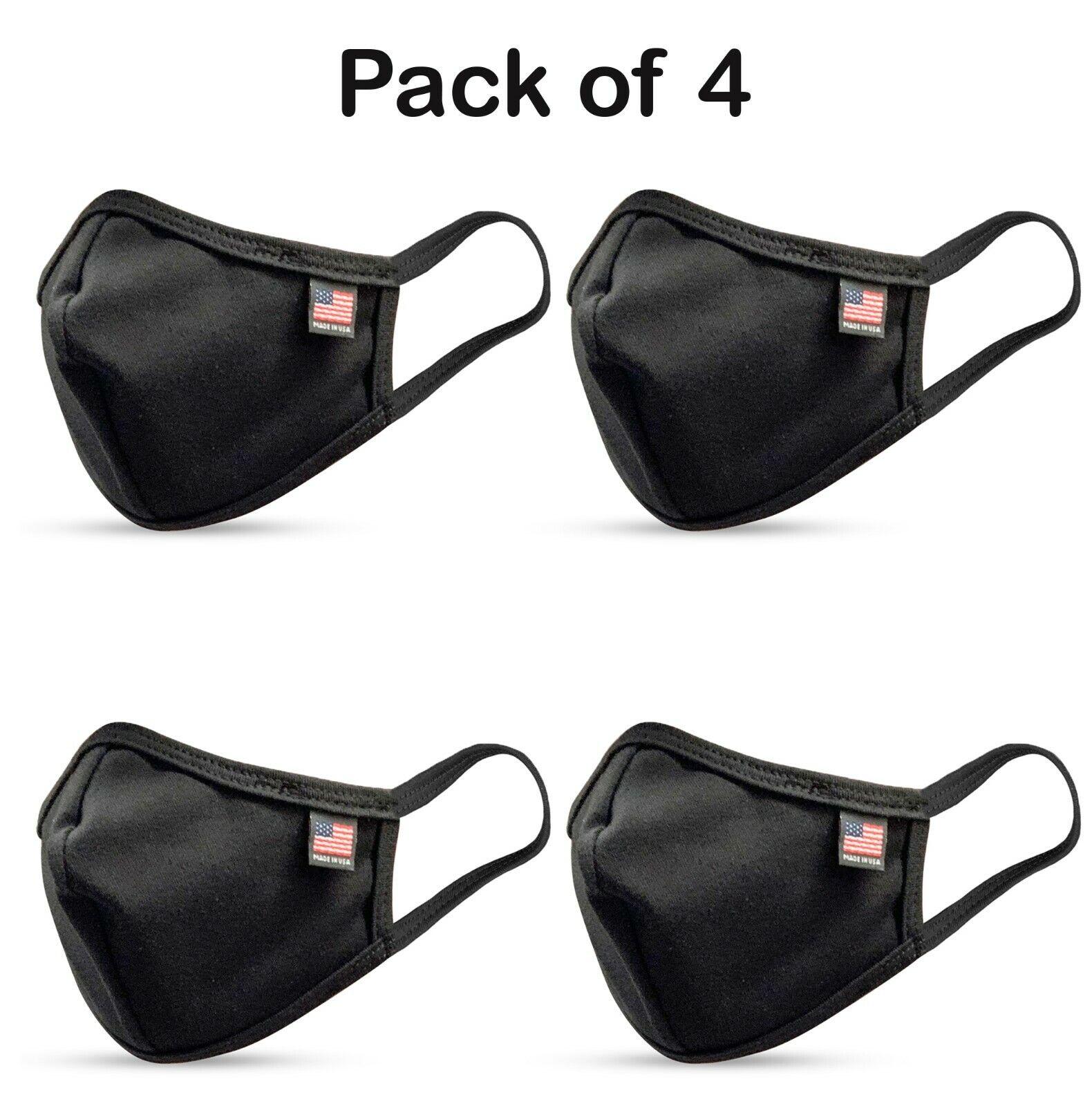 4PCS Pack Made in U.S.A Premium Cotton Mask (Black) Accessories