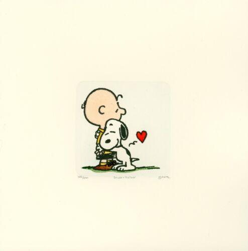 Snoopy + Charlie Brown Peanuts Sowa & Reiser #D/500 Hand Painted Etching Art Hug