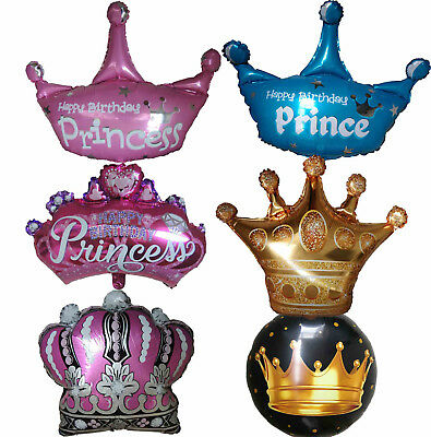 King Queen Prince Princess Crown Balloon Birthday Party Supplies Decoration Gift