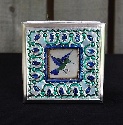 Lg Tin Box & Ceramic Tile of Hummingbird by Tirso Cuevas Mexican Folk Art Oaxaca