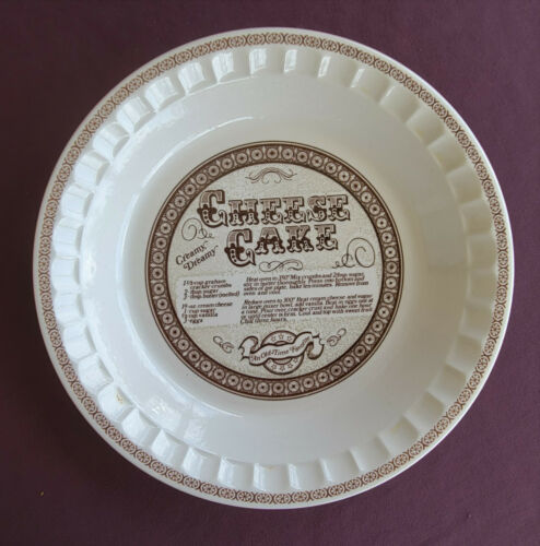 CHEESE CAKE PIE PLATE Vintage Baking Dish ROYAL CHINA JEANETTE w/ Recipe 11 Inch