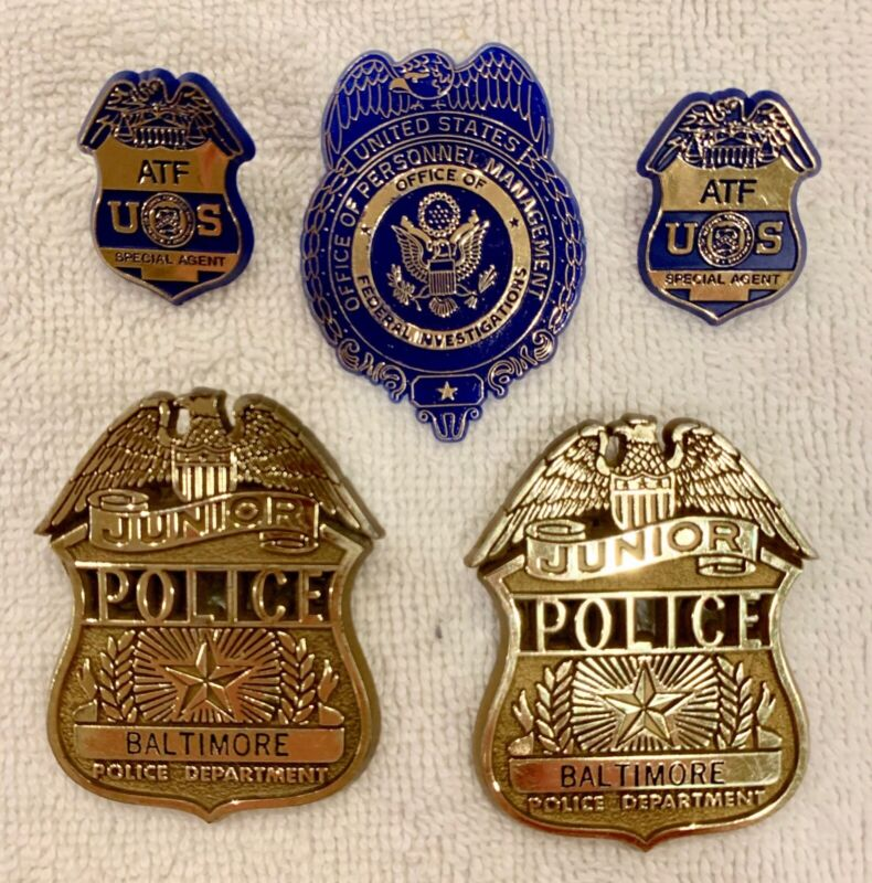 Junior Deputy and Police Officer Plastic Childs Badge Lot of 5