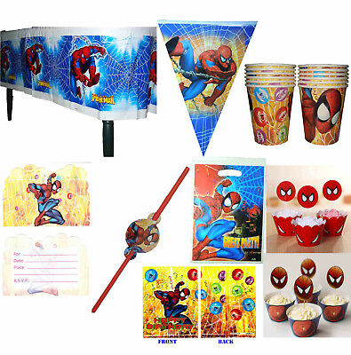 SPIDER-MAN PARTY SUPPLIES BANNER CUPCAKE WRAPPERS TOPPERS TABLECOVER PARTY BAGS (Spider Man Party Supplies)