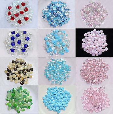Glass Gems Mosaic Pebbles, Marbles Flat Bottom, Vase Fillers - 12 Color - Glass Vase Fillers