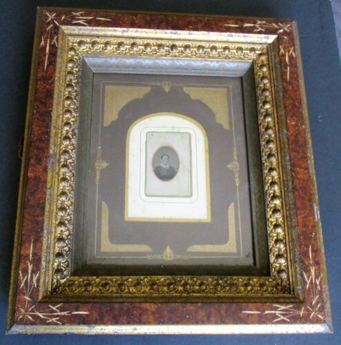 """Antique Victorian Gesso Picture Frame 8"""" x 10"""" Opening w Tintype CDV"""