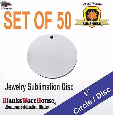 50 Pieces 1 Circle Sublimation Blanks - Jewelry Making Supply .025 With Hole