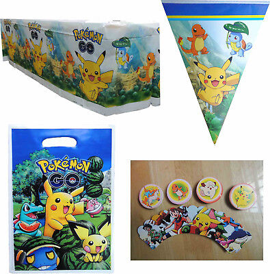 POKEMON PIKACHU PARTY SUPPLIES BANNER BUNTING TABLECLOTH TABLE COVER - Yellow Party Supplies