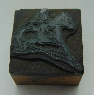 Vintage Printing Letterpress Printers Block Man With A Hat Riding Horse