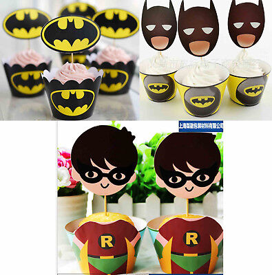 PACK OF 12 BATMAN CUPCAKE WRAPPERS TOPPERS BIRTHDAY PARTY SUPPLIES DECORATION