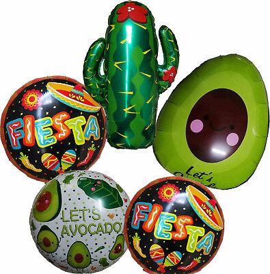 Avocado Fiesta Cactus Balloon Mexican Taco Sombrero Party Supplies - Fiesta Balloons