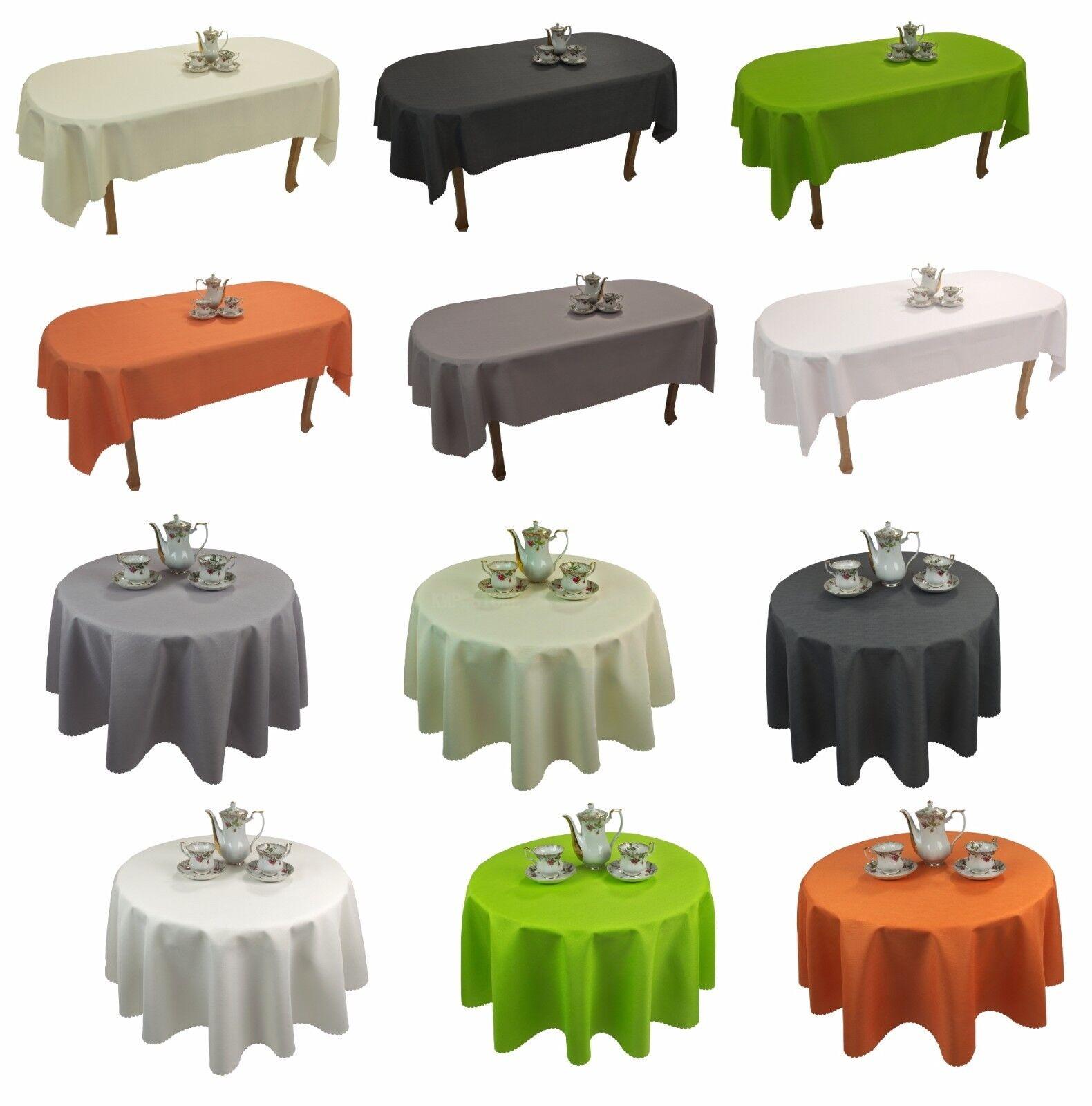Tischdecke abwaschbar Tischläufer Gartentischdecke Leinen Optik Rechteckig Rund