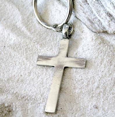 CHRISTIAN CROSS CRUCIFIX Pewter KEY CHAIN Key Ring - Cross Key Chains