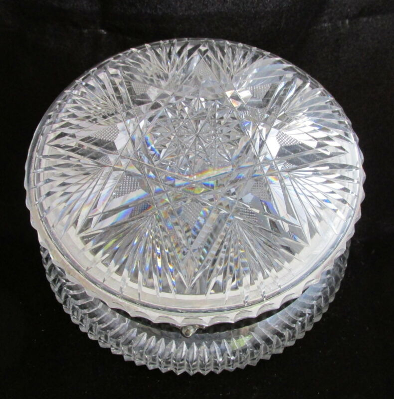Antique American Brilliant Cut Glass Hinged Round Powder Dresser Box