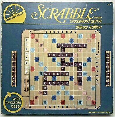Vintage1977 Deluxe Edition Scrabble Turntable Board Game Wood Tile Trays No 71