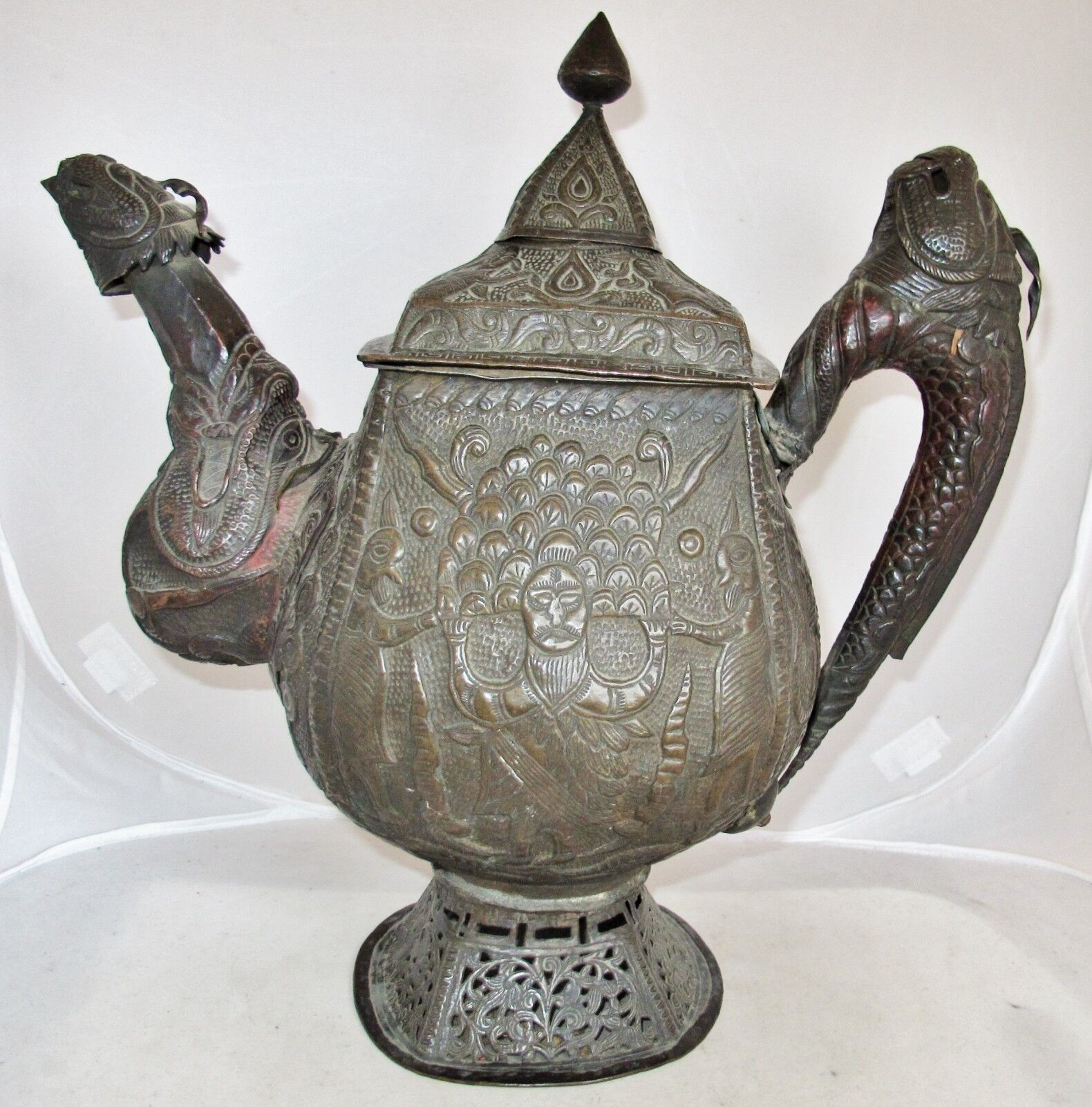 "14.85"" Antique Chinese or Tibetan Metal Repousse DRAGON Water Kettle or Teapot"