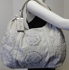Chocolate New York Light Gray Lace Flower Emblem Hobo Shoulder Bag Handbag Purse