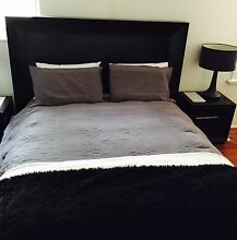 Modern Black/Brown Timber Queensize Bed Paddington Eastern Suburbs Preview