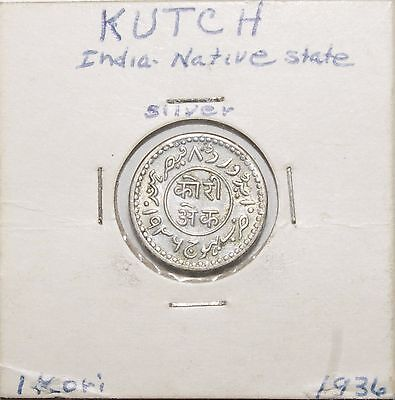 1936 India-Independent Kingdoms Silver KUTCH Kori Rare High Value Very Nice Coin