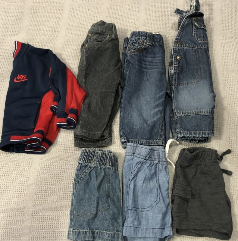 0-3mo Through 9 Months Baby Boy Clothes Pants, Shorts, Overall And Nike Jacket