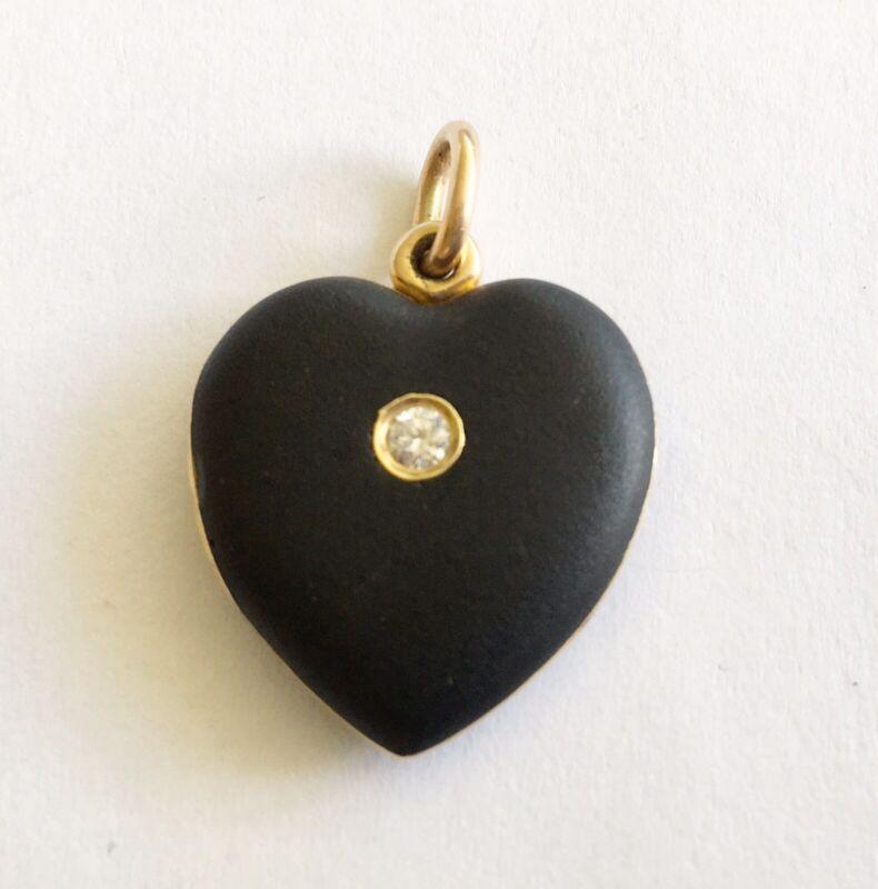 Antique Art Nouveau 14k Black Enamel Heart Locket/Drop/Pendant, Diamond