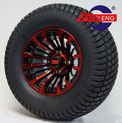 "GOLF CART 12"" BLACK/RED MATADOR WHEELS and 23"" STREET TURF TIRES (SET OF 4)"
