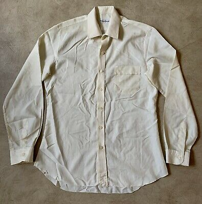1970s Men's Shirt Styles – Vintage 70s Shirts for Guys Vintage Pierre Cardin Mens Shirt Size M Ivory Cream Long Sleeve $27.56 AT vintagedancer.com