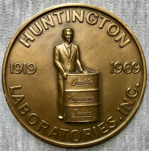 "Huntington Laboratories 50th Anniversary - 1919-1969 - 2.5"" Bronze Medal - MACO"
