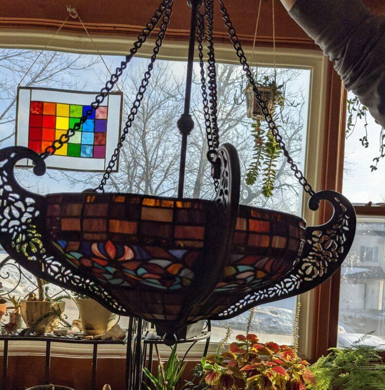 BEAUTIFUL Antique Stainglass Chandelier light