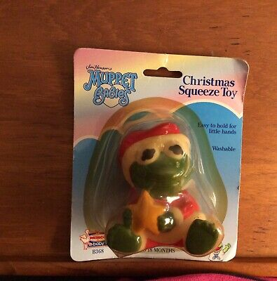 1989 Muppet Babies Rubber Figure Kermit The Frog Santa Squeeze Toy Christmas New
