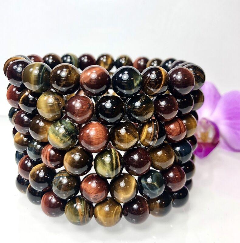 "Wholesale Lot 6 Pcs Mix Tiger Eye 10mm 7.5"" Crystal Healing Stretch Bracelet"