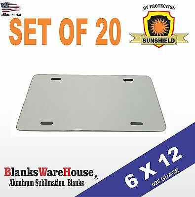 20 Pieces Aluminum License Plate Sublimation Blanks 6x 12 New Best Quality