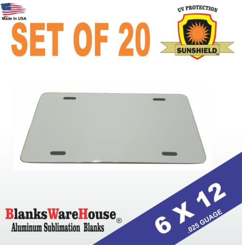 "20 Pieces ALUMINUM LICENSE PLATE SUBLIMATION BLANKS 6""x 12"" / NEW BEST QUALITY"
