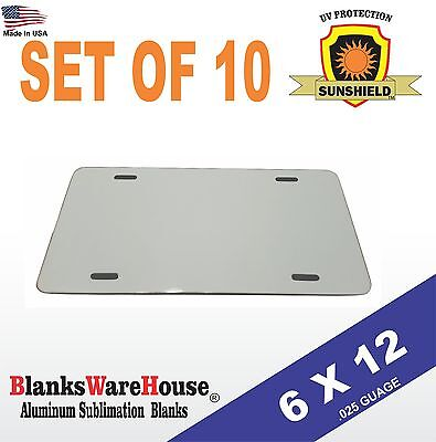 "10 Pieces ALUMINUM LICENSE PLATE SUBLIMATION BLANKS 6""x 12"" / NEW BEST QUALITY"