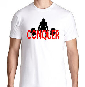 Conquer body bench press gym funny crossfit health running for Funny crossfit t shirts