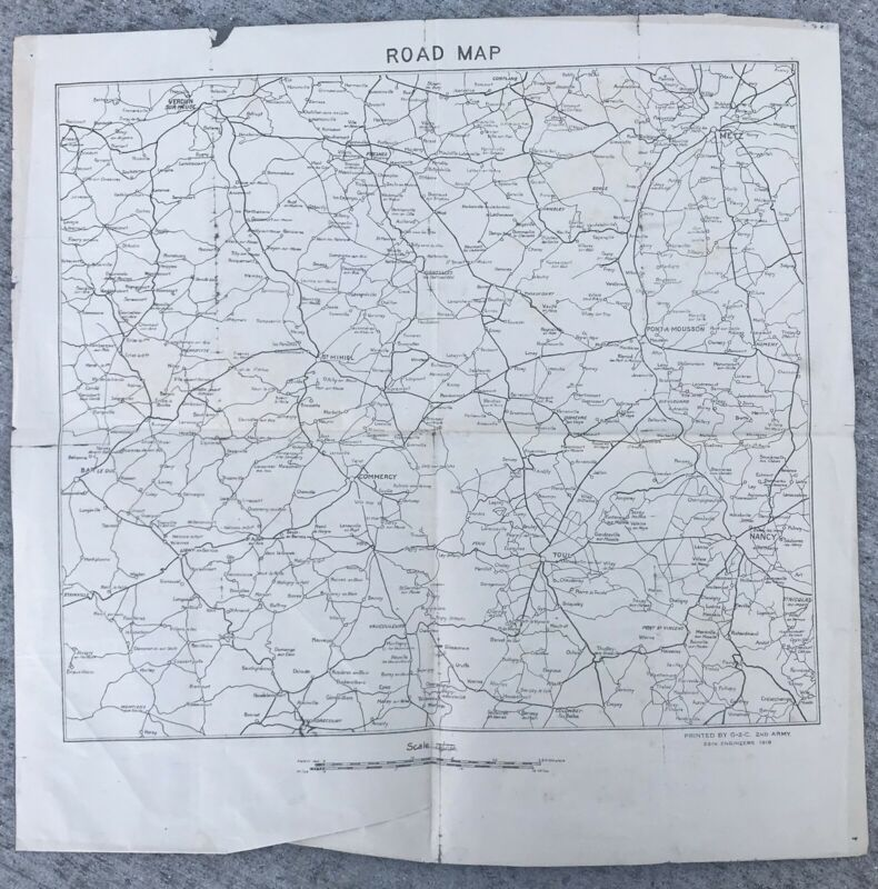 WW1 US Army Map 1919 France Metz Verdun Printed By 2nd Army 29th Engineers