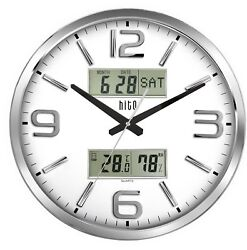 hito Silent Wall Clock Non ticking 16 inch Large Oversized Date Day Indoor