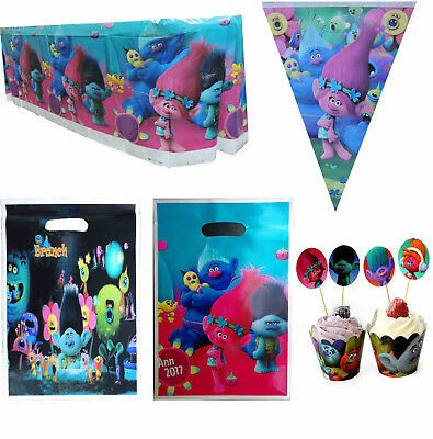 TROLLS PARTY SUPPLIES BANNER BUNTING PARTY CAKE DECORATION GIFT BAGS TABLECLOTH