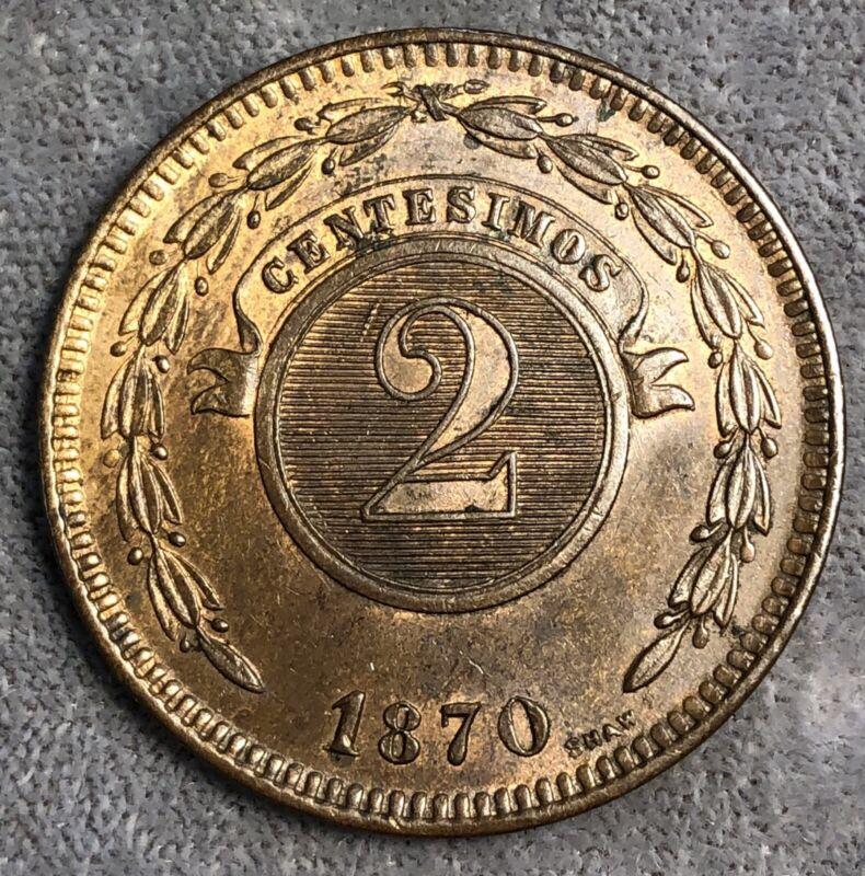 Paraguay 2 Centesimos, 1870. KM# 3.