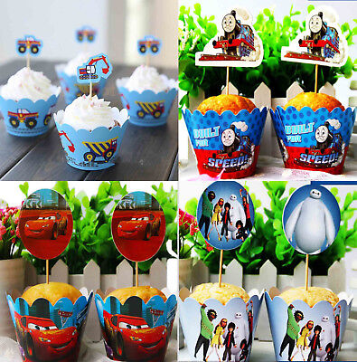Cars Cupcake (PACK OF 12 CARS CUPCAKE LINERS WRAPPERS & CAKE TOPPERS BIRTHDAY PARTY)