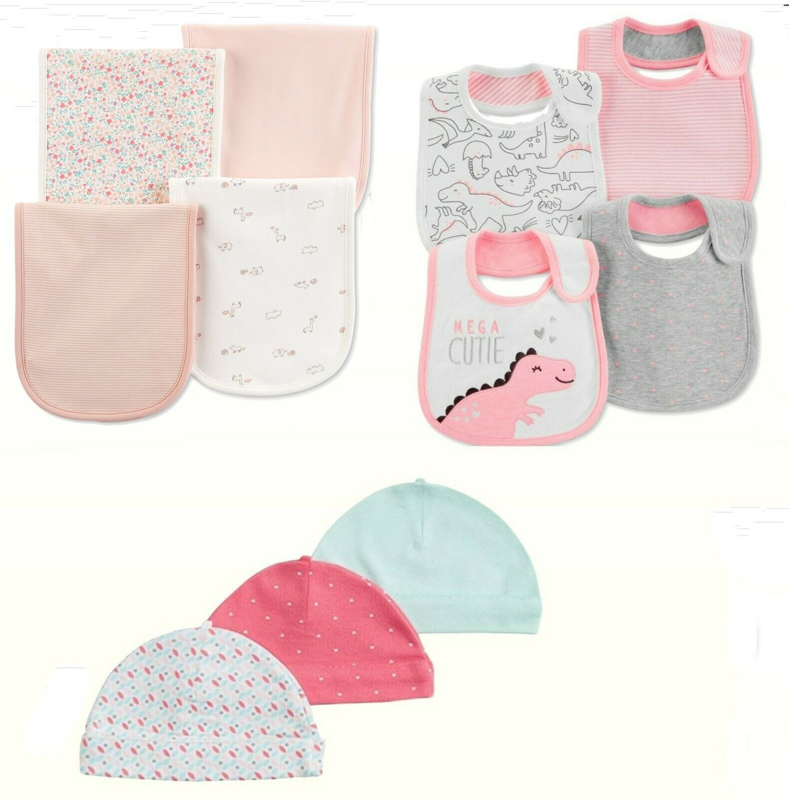 NWT Carter's Baby Girl 4 Pk Burp Cloths ,Bibs or 3 Pk Hats L