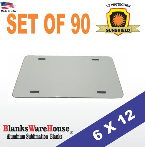 """90 Pieces ALUMINUM LICENSE PLATE SUBLIMATION BLANKS 6""""x 12"""" / PRINTING SUPPLIES"""