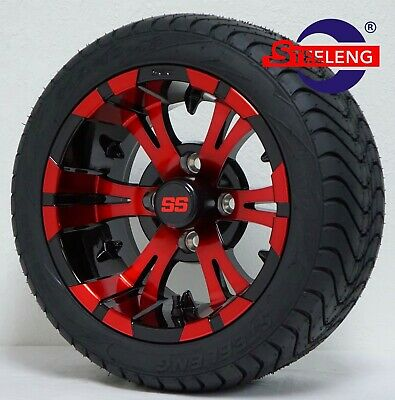 "GOLF CART 12"" RED-BLACK VAMPIRE WHEELS and 215/40-12 LOW PROFILE TIRES(4)"