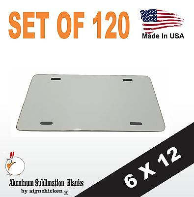 "120 Pieces ALUMINUM LICENSE PLATE SUBLIMATION BLANKS 6""x12"" / NEW BEST QUALITY"